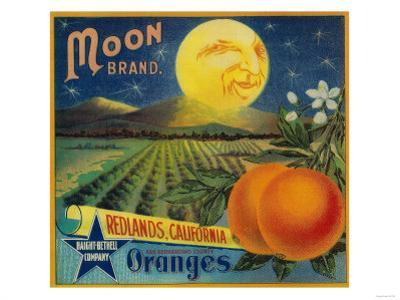 Moon Orange Label - Redlands, CA by Lantern Press