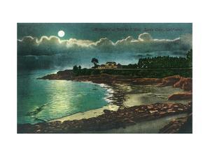 Moonlit view of the Vue de l'Eau - Santa Cruz, CA by Lantern Press