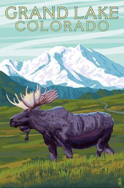 Moose and Mountain - Grand Lake, Colorado by Lantern Press