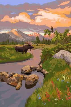 Moose and Mountain by Lantern Press