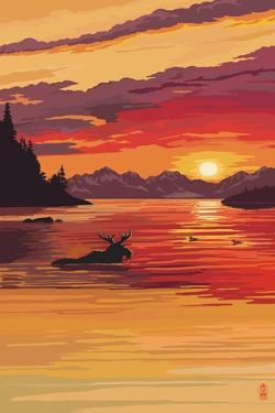 Moose at Sunset (Image Only) by Lantern Press