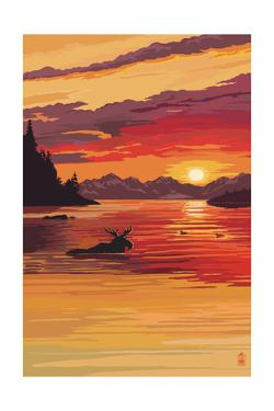 Moose at Sunset (Image Only) by Lantern Press