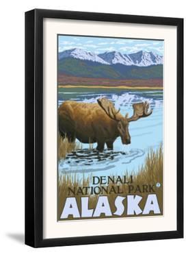 Moose Drinking at Lake, Denali National Park, Alaska by Lantern Press