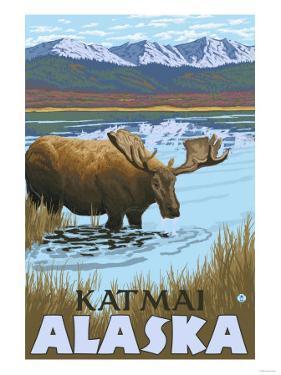 Moose Drinking at Lake, Katmai, Alaska by Lantern Press