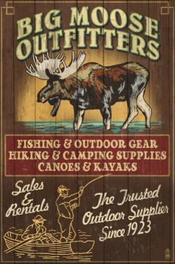 Moose Outfitters - Vintage Sign by Lantern Press