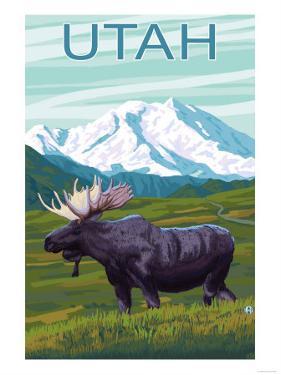 Moose with Mountain - Utah by Lantern Press