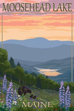 Moosehead Lake, Maine - Bears and Spring Flowers by Lantern Press