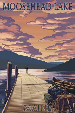 Moosehead Lake, Maine - Dock and Sunset Scene by Lantern Press