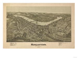 Morgantown, West Virginia - Panoramic Map by Lantern Press