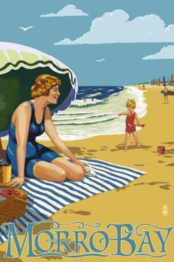 Morro Bay, California Beach Scene by Lantern Press