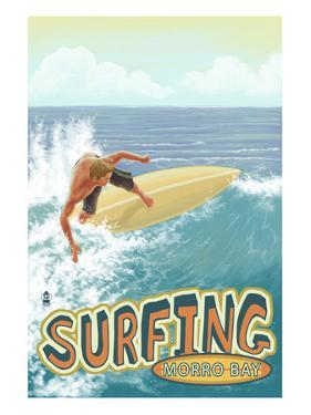 Morro Bay, California - Surfer Scene by Lantern Press