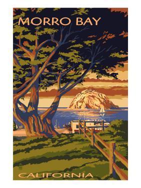Morro Bay, California Town View with Morro Rock Poster by Lantern Press