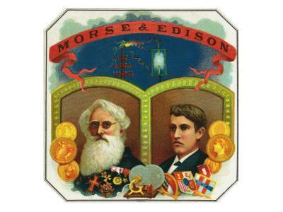 Morse and Edison Brand Cigar Box Label, Samuel F.B. Morse and Thomas Edison