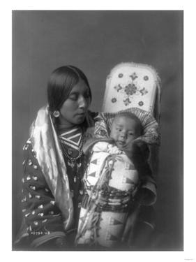 Mother and child Apsaroke Indian Edward Curtis Photograph by Lantern Press