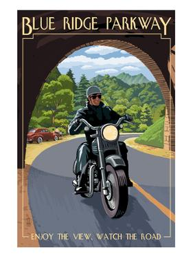 Motorcycle and Tunnel - Blue Ridge Parkway by Lantern Press