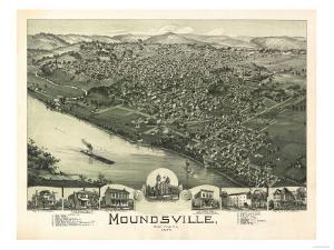 Moundsville, West Virginia - Panoramic Map by Lantern Press