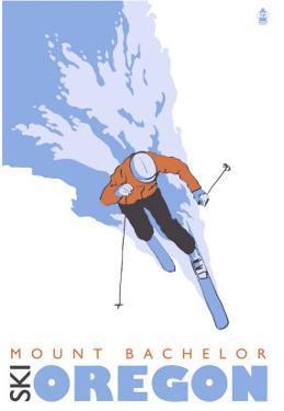 Mount Bachelor, Oregon, Stylized Skier by Lantern Press