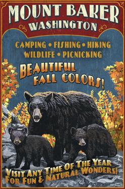 Mount Baker, Washington - Black Bears Vintage Sign by Lantern Press