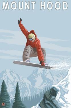 Mount Hood, Oregon, Snowboarder Jumping by Lantern Press