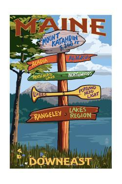 Mount Katahdin, Maine - Sign Destinations by Lantern Press