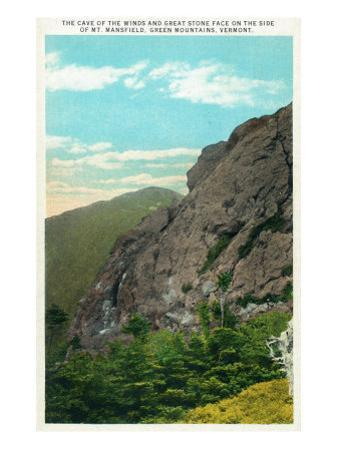 Mount Mansfield, Vermont, View of Cave of the Winds and Great Stone Face by Lantern Press