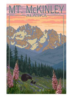 Mount McKinley, Alaska - Bear and Cubs Spring Flowers by Lantern Press