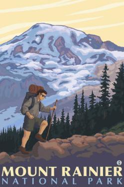 Mount Rainier, Hiker by Lantern Press