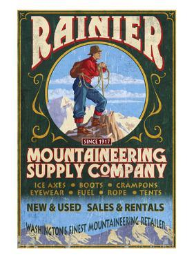 Mount Rainier - Mountaineering Supply Company by Lantern Press