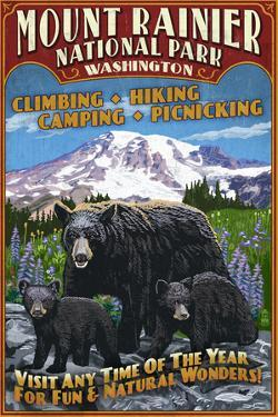 Mount Rainier National Park - Bear Family Vintage Sign by Lantern Press