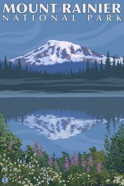 Mount Rainier, Reflection Lake by Lantern Press
