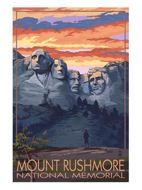 Mount Rushmore National Memorial, South Dakota - Sunset View by Lantern Press