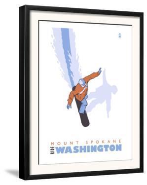 Mount Spokane, Washington, Stylized Snowboarder by Lantern Press