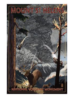 Mount St. Helens - Eruption Scene with Elk by Lantern Press