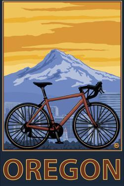 Mountain Bike and Mt. Hood - Oregon by Lantern Press
