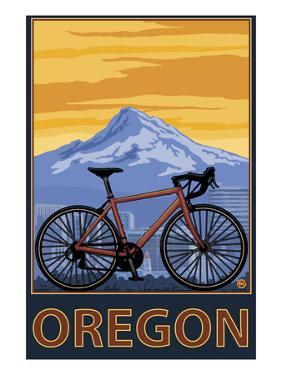 Mountain Bike and Mt. Hood - Oregon by Lantern Press