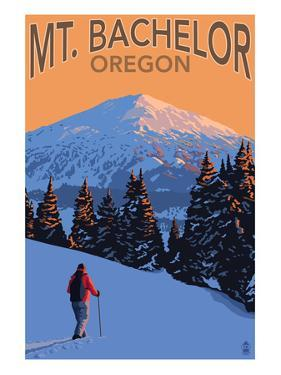 Mt. Bachelor and Skier - Oregon by Lantern Press