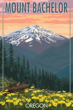 Mt. Bachelor, Oregon - Pine Martin and Flowers by Lantern Press
