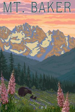 Mt. Baker, Washington - Bears and Spring Flowers by Lantern Press
