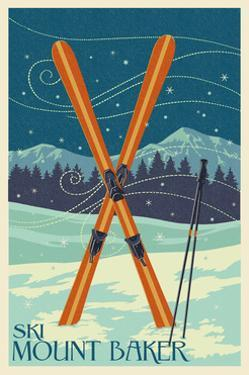Mt. Baker, Washington - Crossed Skis by Lantern Press