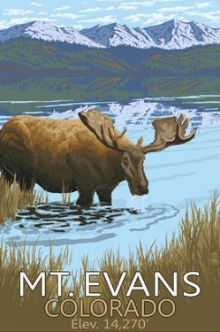 Mt. Evans, Colorado Elv. 14,270 - Moose and Lake by Lantern Press