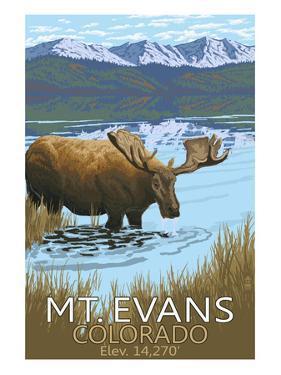 Mt. Evans, Colorado Elv. 14,270 - Moose and Lake by Lantern Press