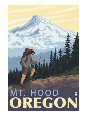 Mt. Hood Hiker Scene Poster by Lantern Press