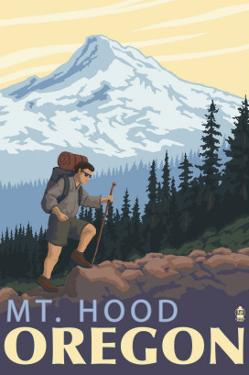 Mt. Hood Hiker Scene Poster by Lantern Press