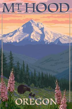 Mt. Hood, Oregon - Bear Family and Spring Flowers by Lantern Press