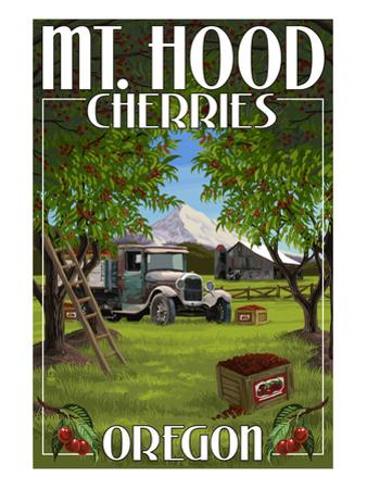 Mt. Hood, Oregon Cherries by Lantern Press