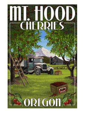 Mt. Hood, Oregon Cherries by Lantern Press