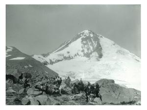 Mt. Hood, Oregon - Hikers with Horses Photograph by Lantern Press