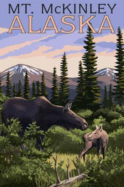 Mt. McKinley, Alaska - Moose and Calf by Lantern Press