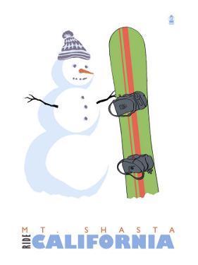 Mt. Shasta, California, Snowman with Snowboard by Lantern Press