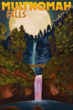 Multnomah Falls, Oregon and Full Moon by Lantern Press
